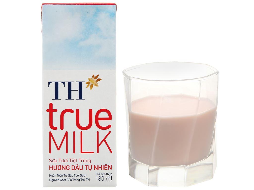 Thùng 48 hộp sữa tươi tiệt trùng hương dâu TH true MILK 180ml 10