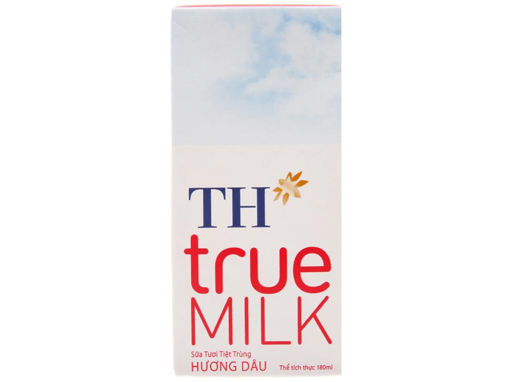 Thùng 48 hộp sữa tươi tiệt trùng TH true MILK hương dâu 180ml 3