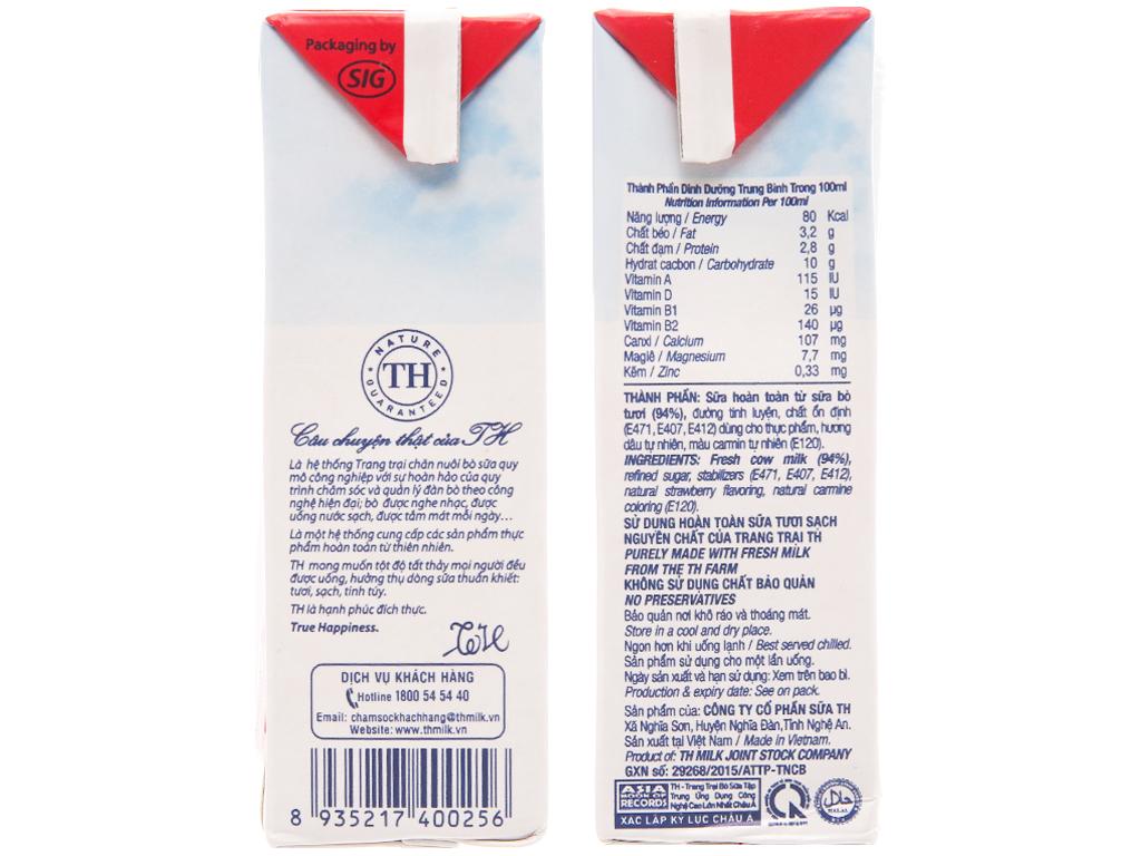 Thùng 48 hộp sữa tươi tiệt trùng TH true MILK hương dâu 180ml 5