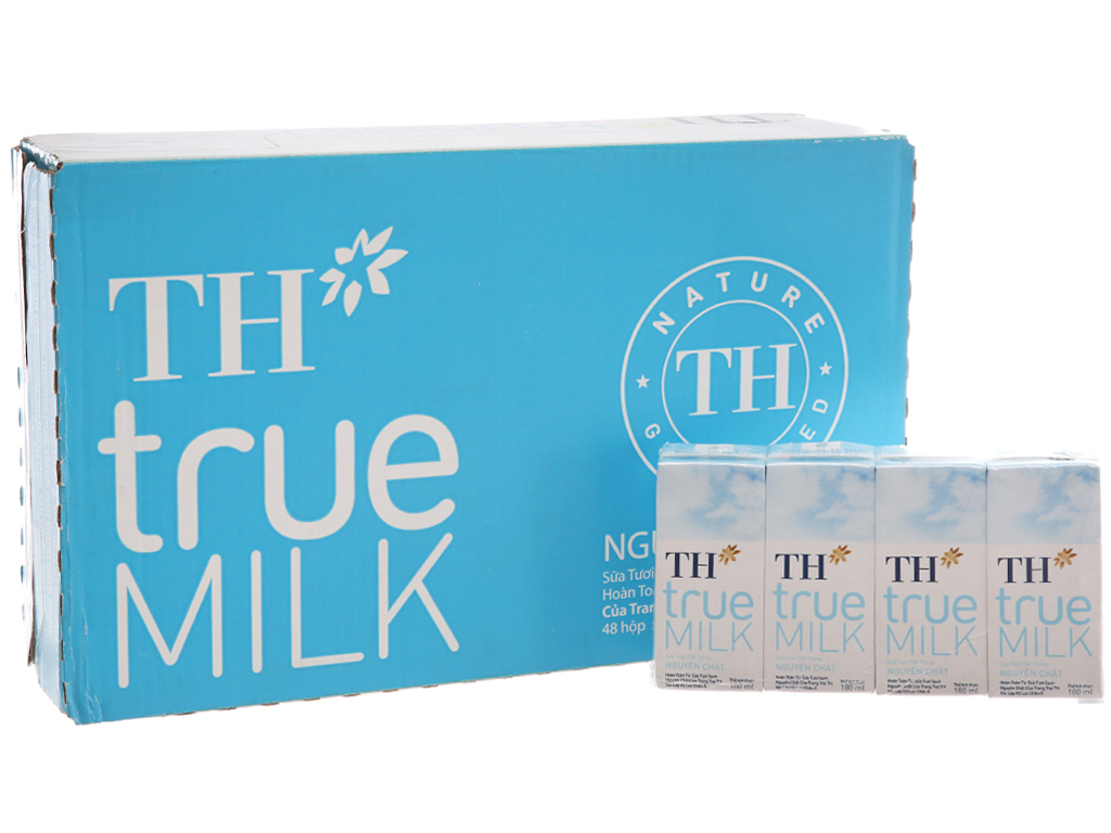Thùng 48 hộp sữa tươi tiệt trùng nguyên chất không đường TH true MILK 180ml 2