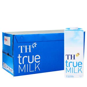 Thùng 12 hộp sữa tươi tiệt trùng ít đường TH true MILK hộp 1 lít
