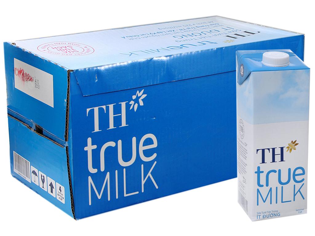 Thùng 12 hộp sữa tươi tiệt trùng ít đường TH true MILK hộp 1 lít 1
