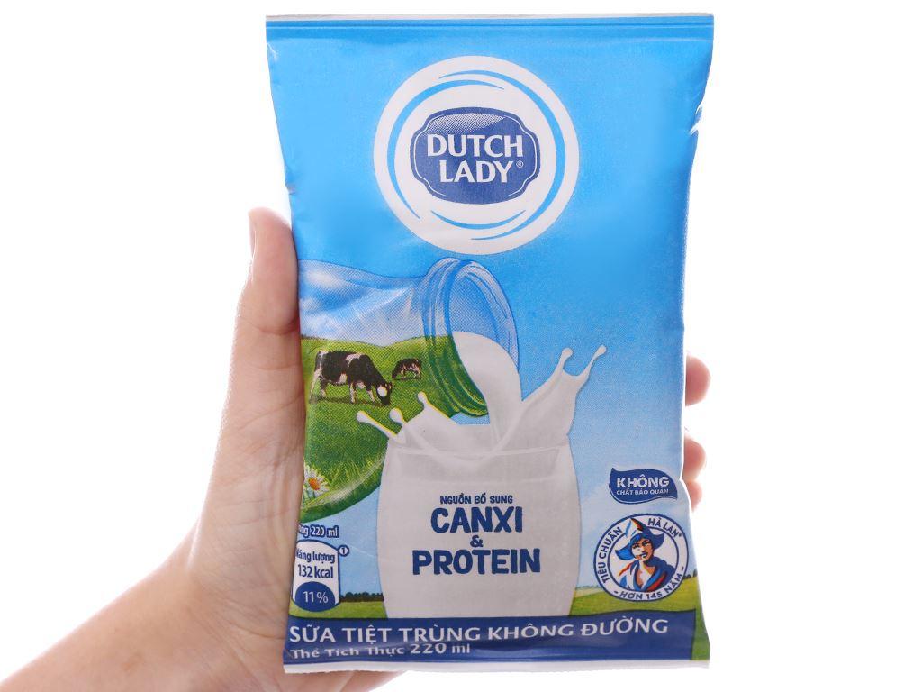 Thùng 48 bịch sữa tiệt trùng không đường Dutch Lady Canxi & Protein 220ml 4