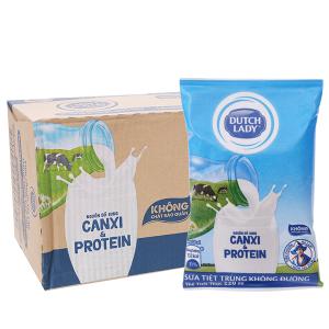 Thùng 48 bịch sữa tiệt trùng Dutch Lady Canxi & Protein không đường 220ml
