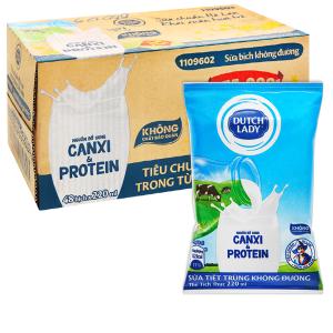 Thùng 48 bịch sữa tiệt trùng không đường Dutch Lady Canxi & Protein 220ml