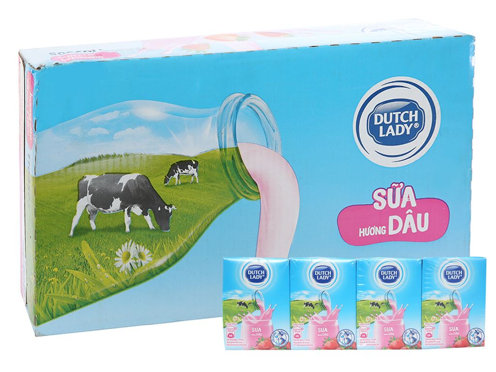 Thùng 48 hộp sữa tiệt trùng Dutch Lady hương dâu 110ml 1