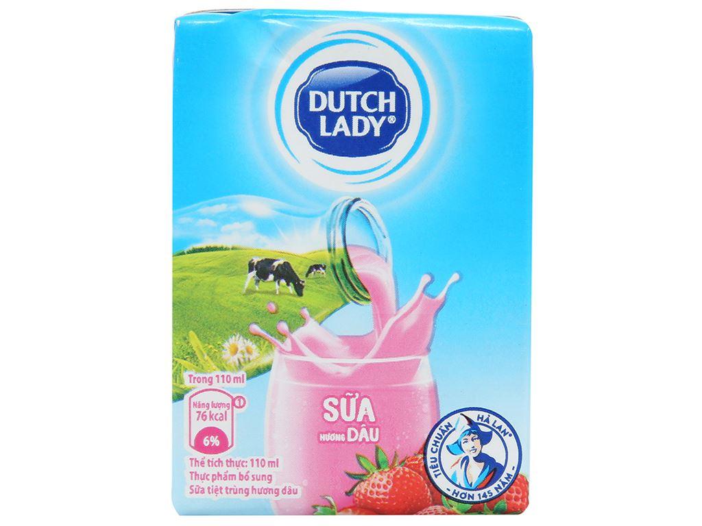 Thùng 48 hộp sữa tiệt trùng Dutch Lady hương dâu 110ml 2