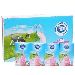 Thùng 48 hộp sữa tiệt trùng Dutch Lady hương dâu 110ml