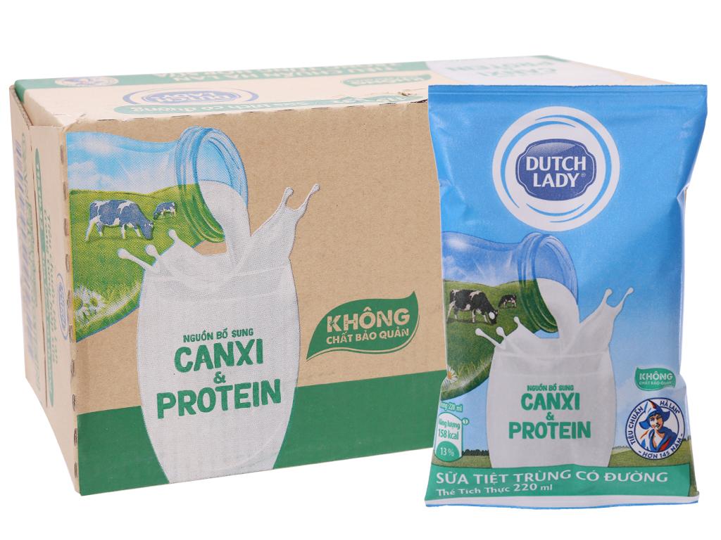 Thùng 48 bịch sữa tiệt trùng có đường Dutch Lady Canxi & Protein 220ml 1