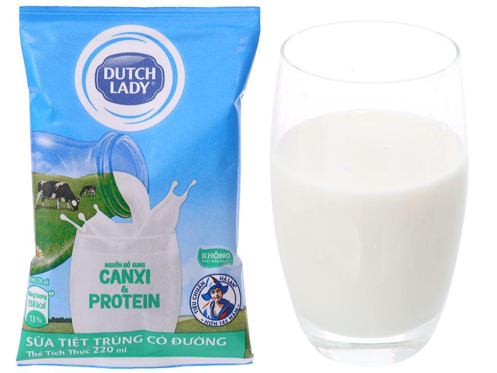 Thùng 48 bịch sữa tiệt trùng có đường Dutch Lady Canxi & Protein 220ml 5