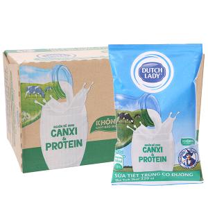 Thùng 48 bịch sữa tiệt trùng Dutch Lady Canxi & Protein có đường 220ml