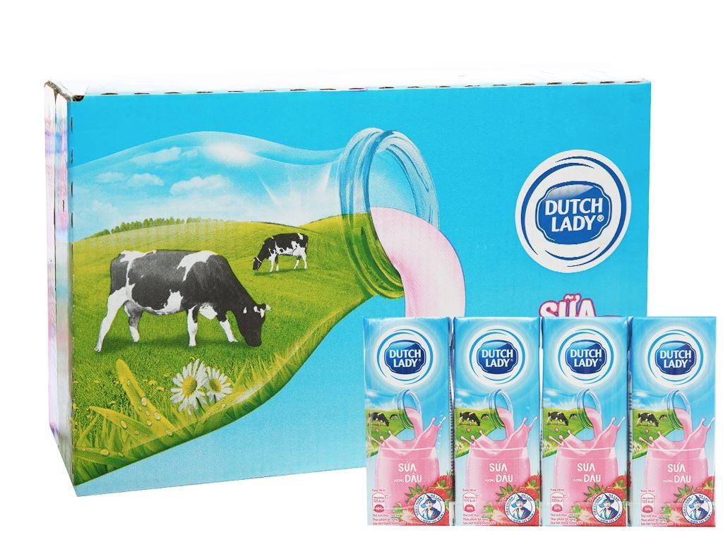 Thùng 48 hộp sữa tiệt trùng hương dâu Dutch Lady 180ml 1