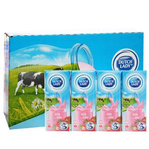 Thùng 48 hộp sữa tiệt trùng Dutch Lady hương dâu 180ml
