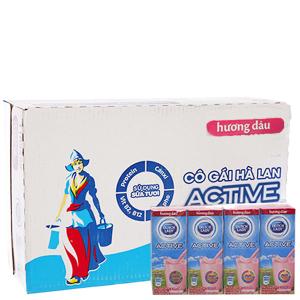 Thùng 48 hộp sữa tiệt trùng Dutch Lady Active hương dâu 180ml