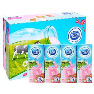 Thùng 48 hộp sữa tiệt trùng hương dâu Dutch Lady 180ml