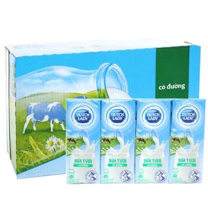 Thùng 48 hộp sữa tươi tiệt trùng Dutch Lady có đường 180ml