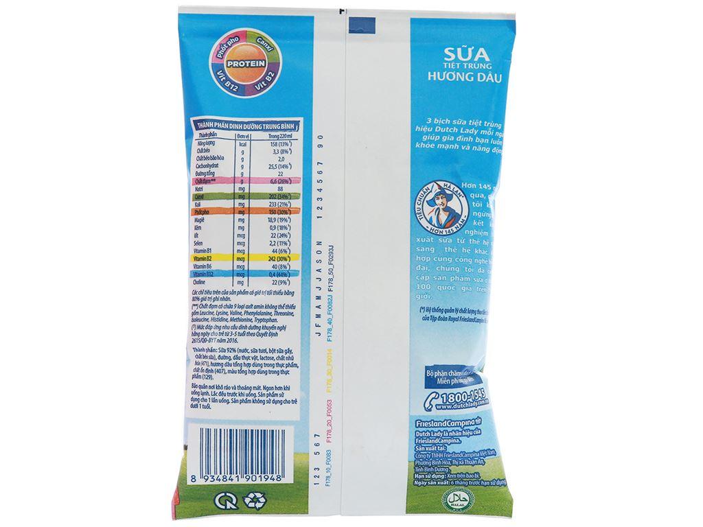 Thùng 48 bịch sữa tiệt trùng Dutch Lady Canxi & Protein hương dâu 220ml 2