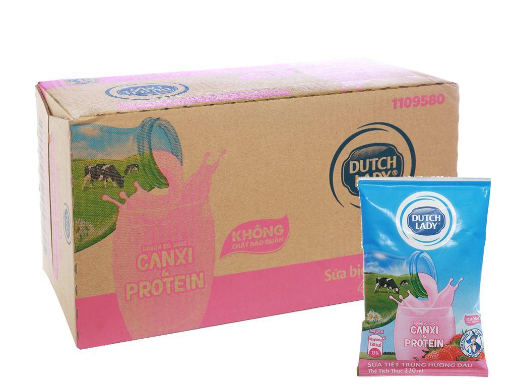 Thùng 48 bịch sữa tiệt trùng Dutch Lady Canxi & Protein hương dâu 220ml 1
