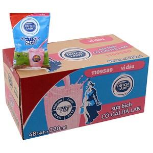 Thùng sữa tiệt trùng Dutch Lady hương Dâu bịch 220ml (48 bịch)