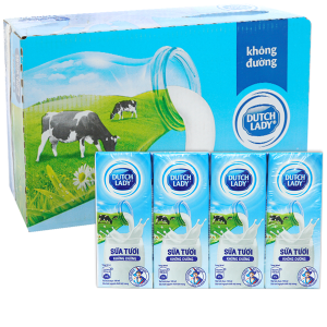 Thùng 48 hộp sữa tươi tiệt trùng không đường Dutch Lady 180ml