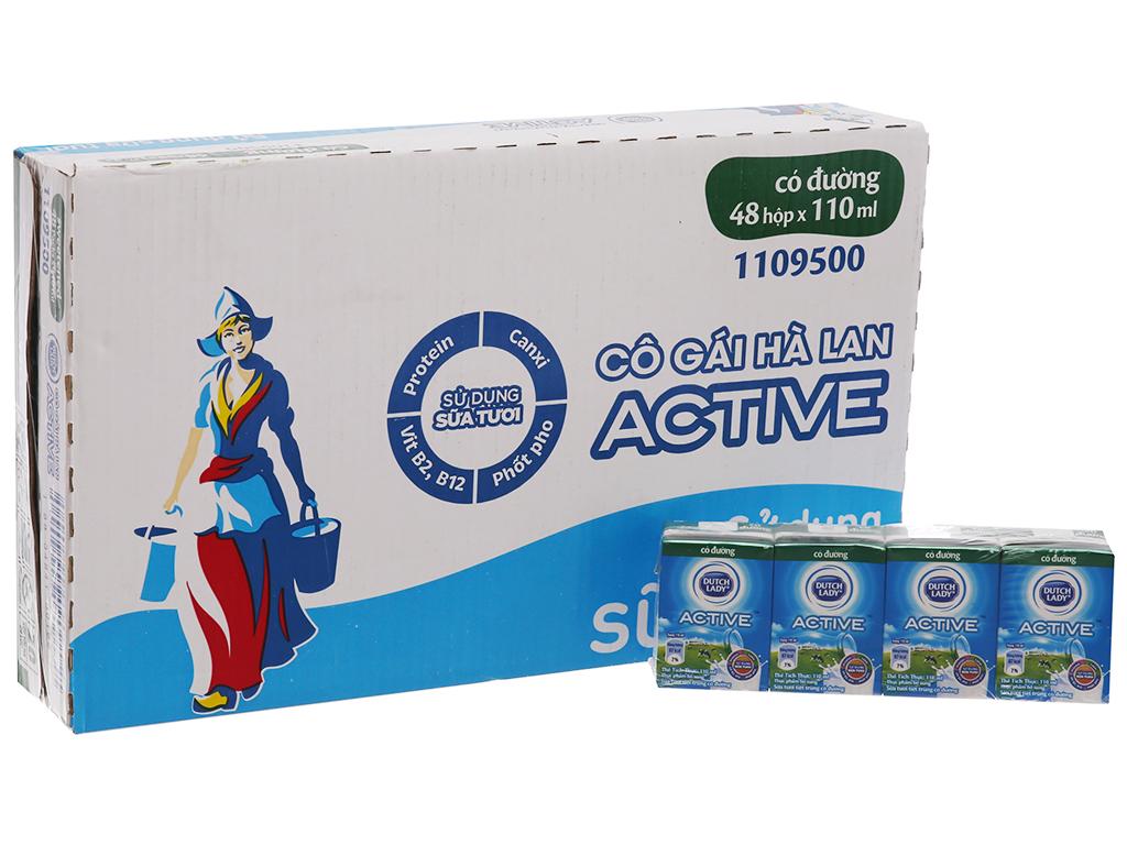 Thùng 48 hộp sữa tươi tiệt trùng Dutch Lady Active có đường 110ml 2
