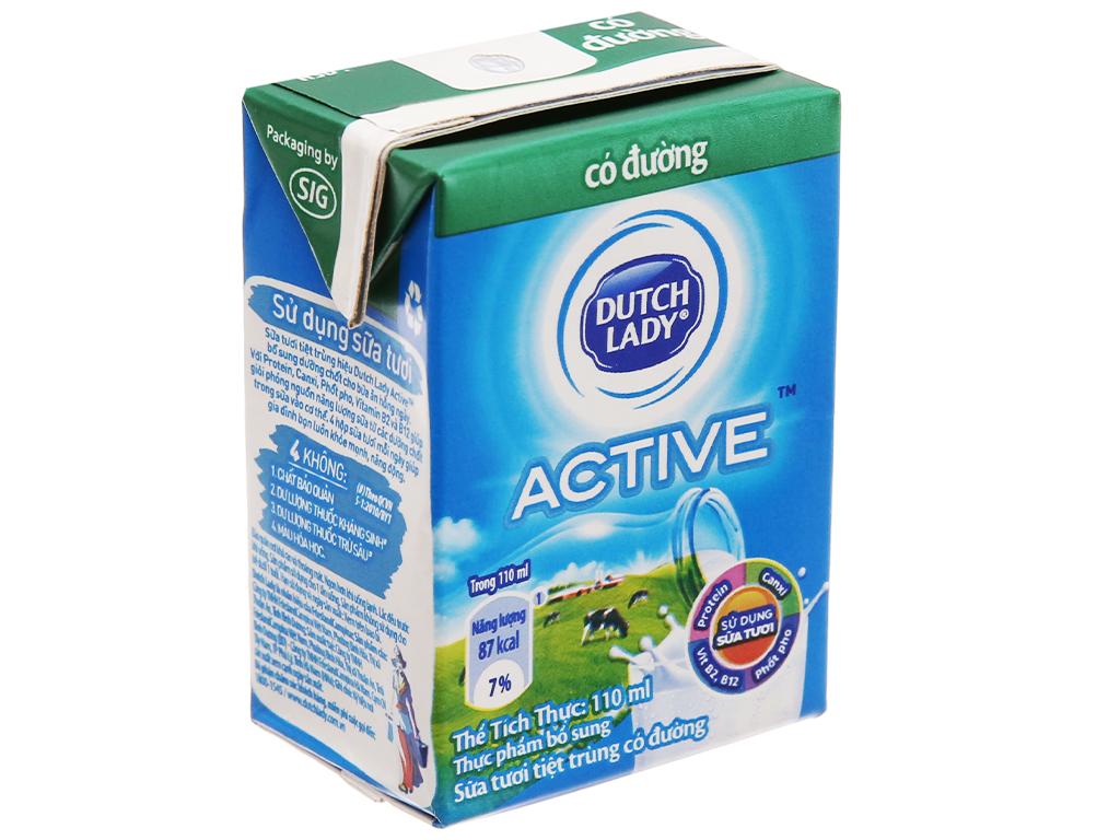 Thùng 48 hộp sữa tươi tiệt trùng Dutch Lady Active có đường 110ml 3