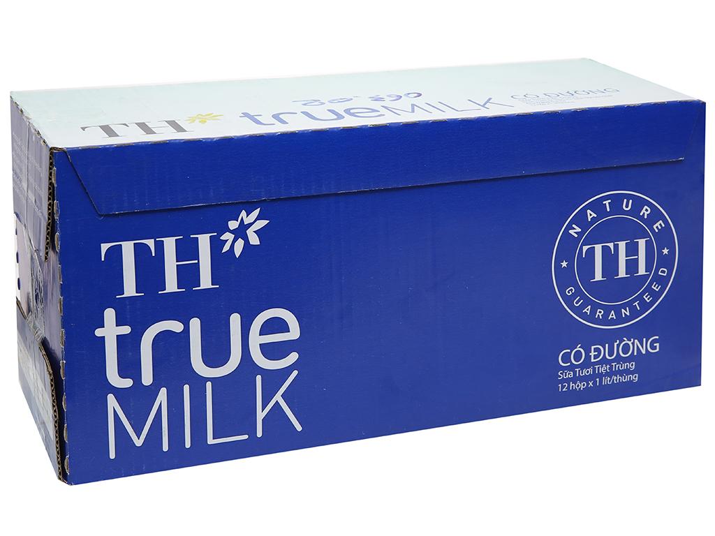 Thùng 12 hộp sữa tươi tiệt trùng có đường TH true MILK 1 lít 1