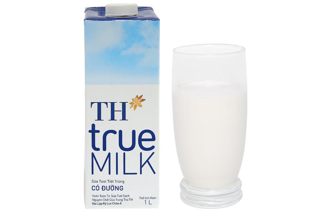 Thùng 12 hộp sữa tươi tiệt trùng có đường TH true MILK 1 lít 10