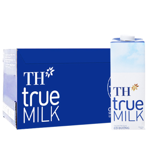 Thùng 12 hộp sữa tươi tiệt trùng TH true MILK có đường 1 lít