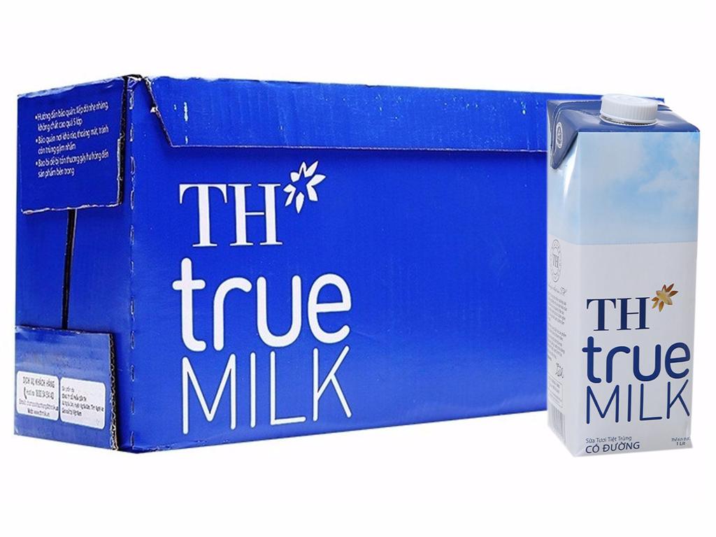 Thùng 12 hộp sữa tươi tiệt trùng TH true MILK có đường 1 lít 1