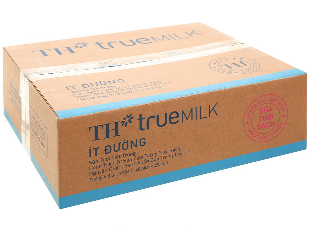 Thùng 48 bịch sữa tươi tiệt trùng ít đường TH true MILK 220ml 7