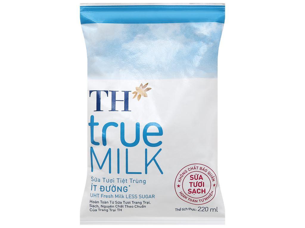 Thùng 48 bịch sữa tươi tiệt trùng ít đường TH true MILK 220ml 8