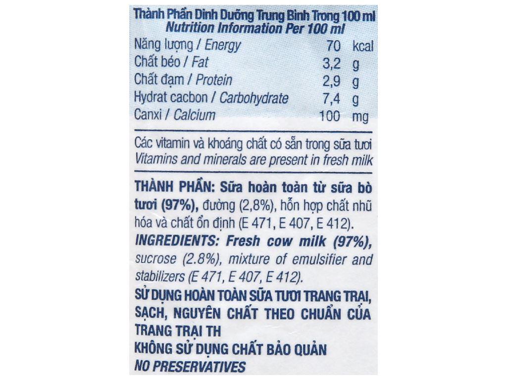 Thùng 48 bịch sữa tươi tiệt trùng ít đường TH true MILK 220ml 10