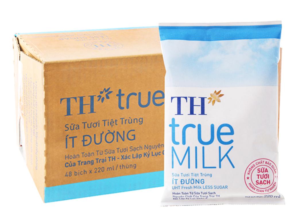 Thùng 48 bịch sữa tươi tiệt trùng ít đường TH true MILK 220ml 2