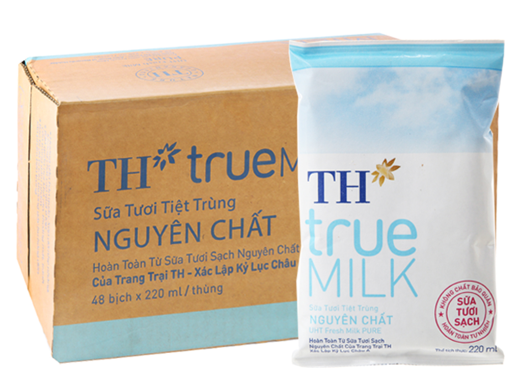 Thùng 48 bịch sữa tươi tiệt trùng nguyên chất không đường TH true MILK 220ml 1