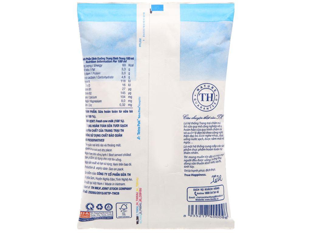 Thùng 48 bịch sữa tươi tiệt trùng nguyên chất không đường TH true MILK 220ml 6