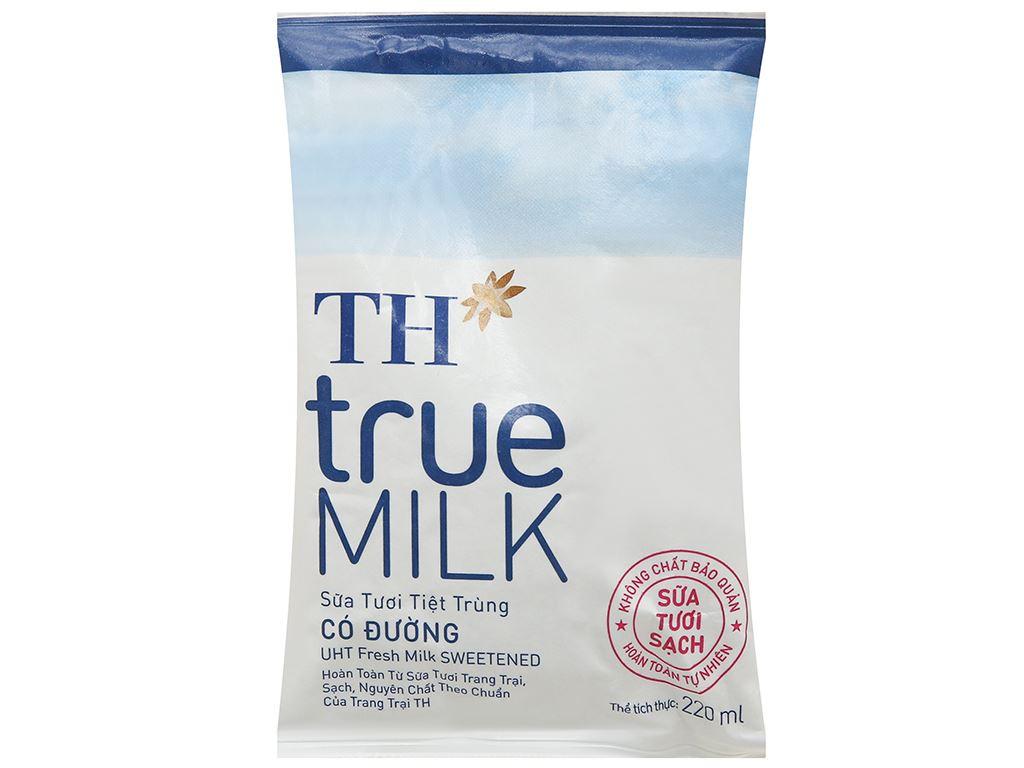 Thùng 48 bịch sữa tươi tiệt trùng có đường TH true MILK 220ml 15