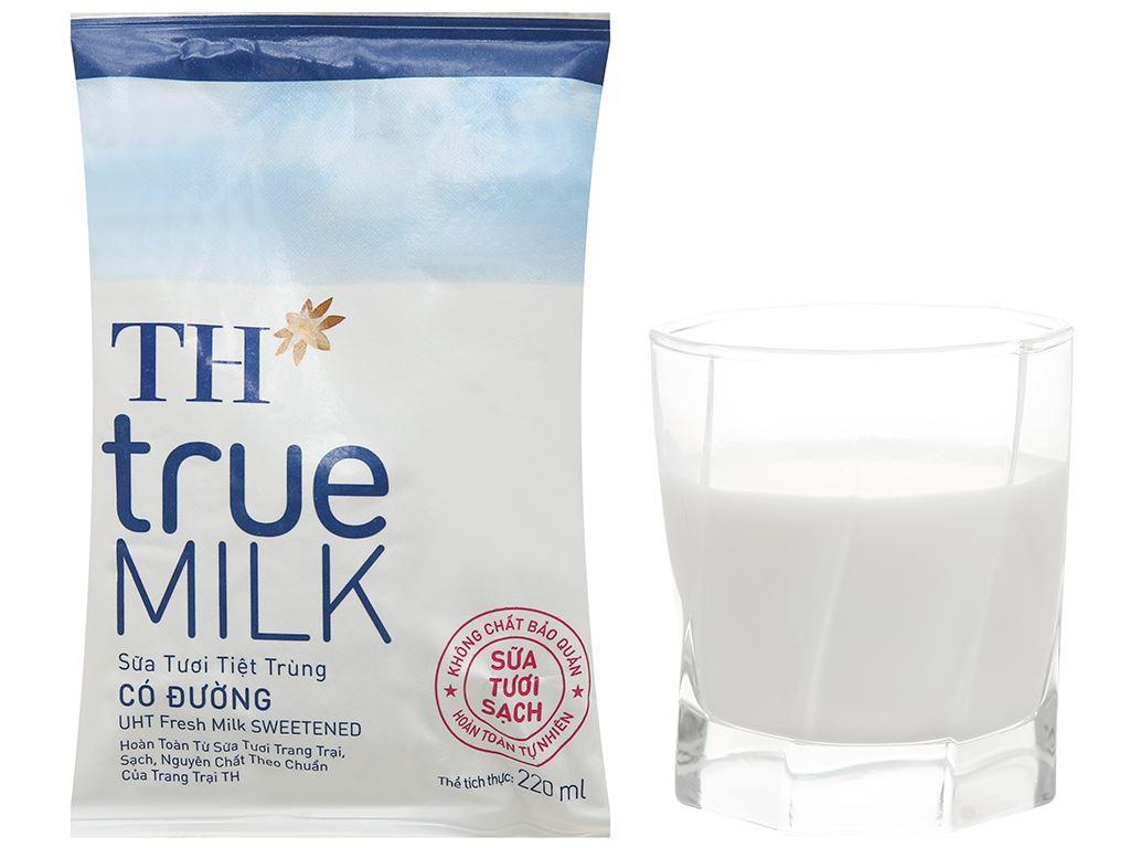 Thùng 48 bịch sữa tươi tiệt trùng có đường TH true MILK 220ml 19