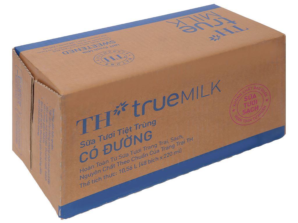 Thùng 48 bịch sữa tươi tiệt trùng có đường TH true MILK 220ml 1