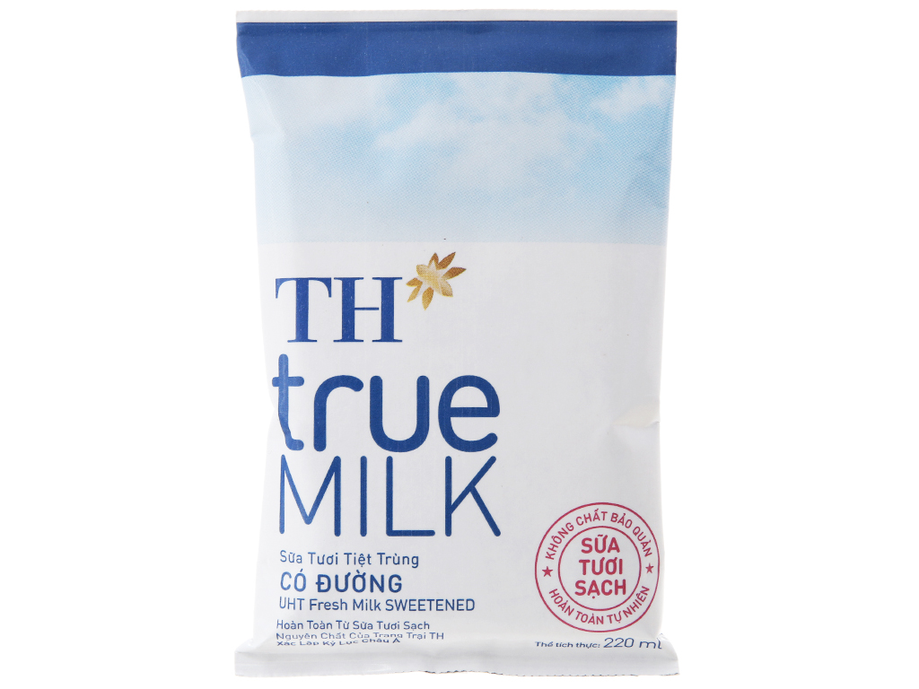 Thùng 48 bịch sữa tươi tiệt trùng TH true MILK có đường 220ml 3