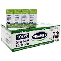 Thùng sữa tươi tiệt trùng Tách béo Vinamilk Có đường hộp 180ml (48 hộp)