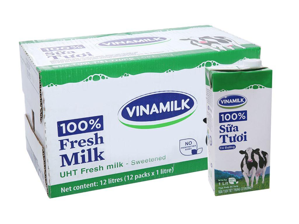 Thùng 12 hộp sữa tươi có đường Vinamilk 100% Sữa Tươi 1 lít 1