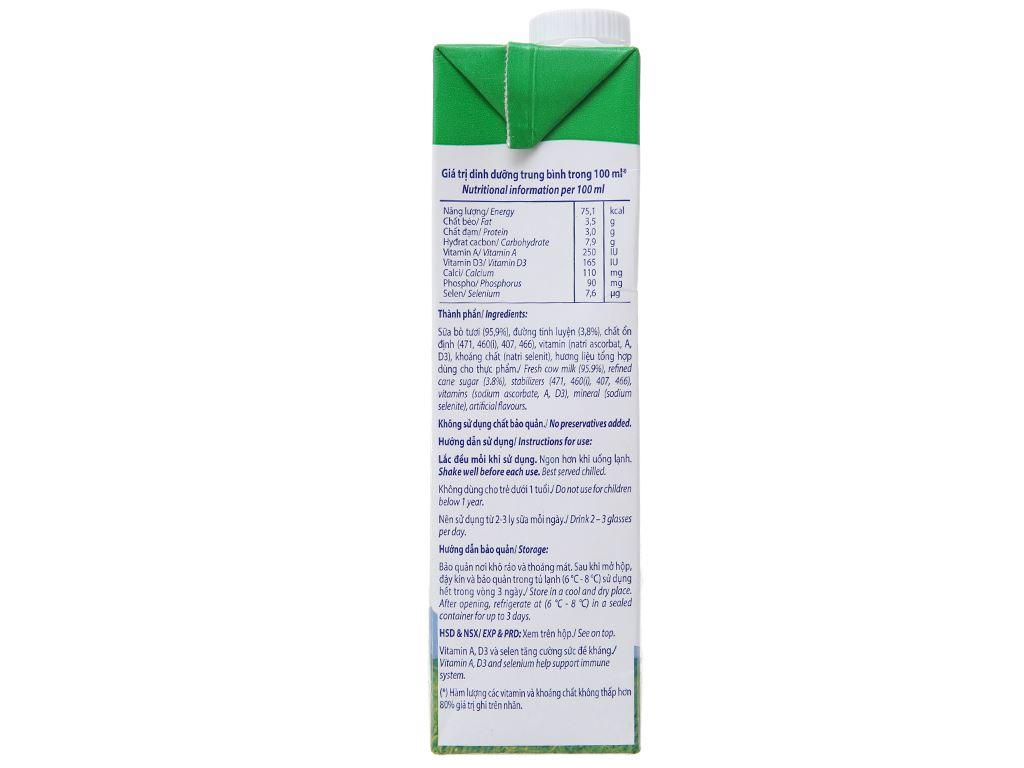 Thùng 12 hộp sữa tươi có đường Vinamilk 100% Sữa Tươi 1 lít 4
