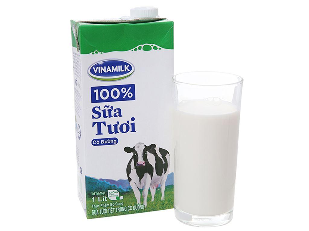 Thùng 12 hộp sữa tươi có đường Vinamilk 100% Sữa Tươi 1 lít 2