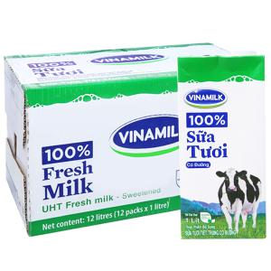 Thùng 12 hộp sữa tiệt trùng Vinamilk 100% Sữa Tươi có đường 1 lít