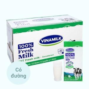 Thùng 12 hộp sữa tươi có đường Vinamilk 100% Sữa Tươi 1 lít