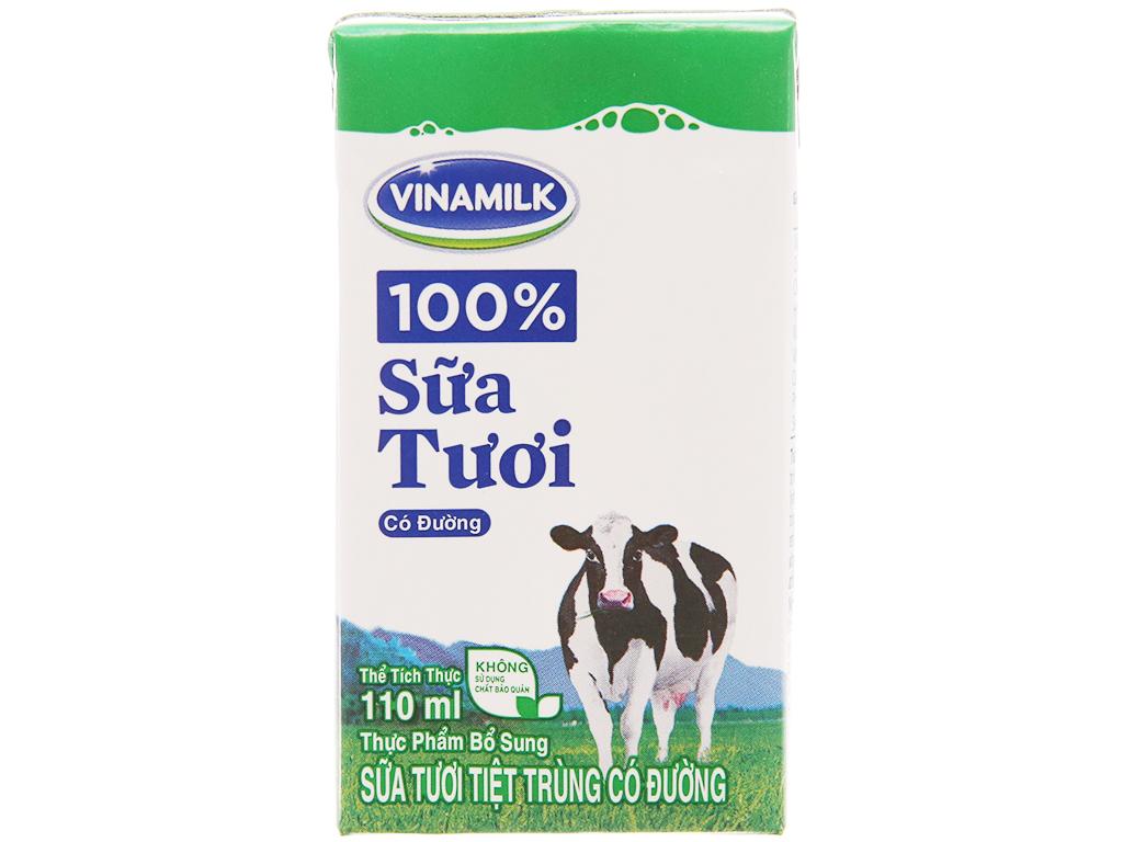 Thùng 48 hộp sữa tươi có đường Vinamilk 100% Sữa Tươi 110ml 3