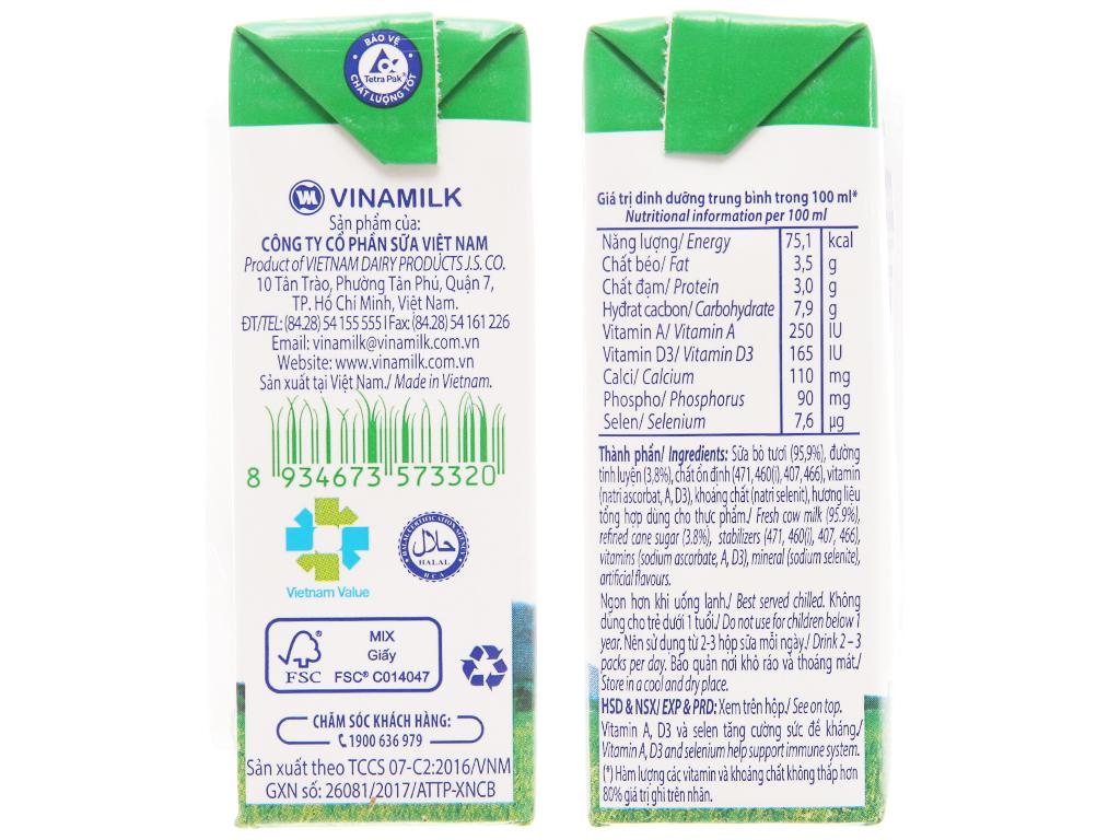 Thùng 48 hộp sữa tươi có đường Vinamilk 100% Sữa Tươi 110ml 5