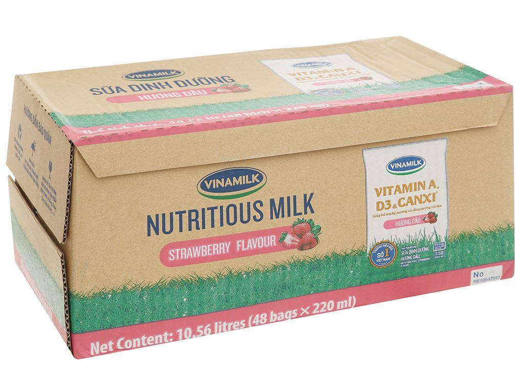 Thùng 48 bịch sữa dinh dưỡng hương dâu Vinamilk A&D3 220ml 19