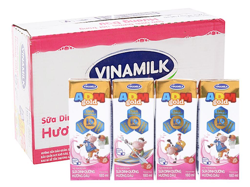 Thùng 48 hộp sữa dinh dưỡng hương dâu Vinamilk ADM Gold 180ml 1